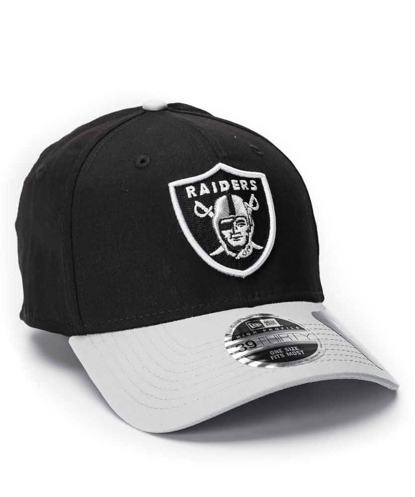 970d2ee9b Boné New Era 3930 Basic Preto e Branco Raiders NFL - ophicina